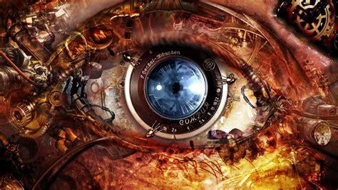 camera eye wallpaper abstract eyes futuristic steunk clocks gears lens