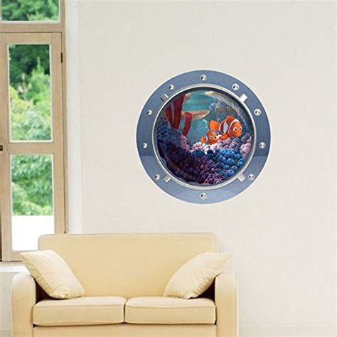 removable wall stickers uk 3d fish window view removable wall stickers vinyl decal decor mural pk ebay