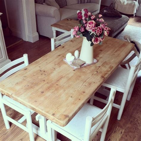 shabby chic dining table and chairs room ideas