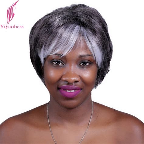ombre for older yiyaobess 10inch grey white ombre wig for older women heat