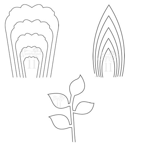 pics for gt flower template printable rose pdf set of 2 flower templates and 1 leaf template giant