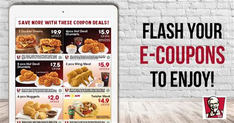 KFC: NEW discount e coupons offers savings of up to $12! Valid from 18 Aug ? 24 Sep 2017