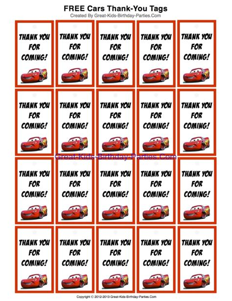 printable birthday favors free printable disney cars thank you tags for party favors
