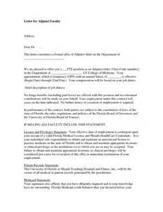 Cover Letter For Professor Position Sle by Cover Letter Adjunct Professor Sle Adjunct Faculty