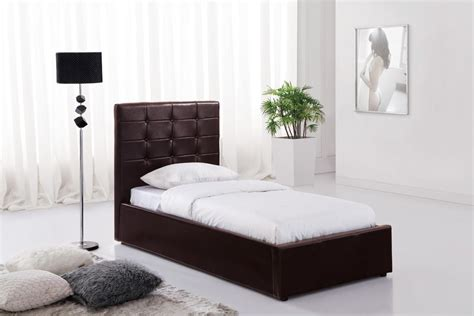 Brown Ottoman Faux Leather Single Bed With Storage Ottoman Single Beds With Storage