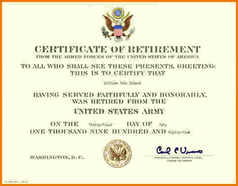 retirement certificate template free printable gift