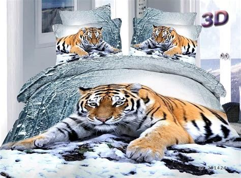 tiger bed set the tiger lying on the snow full queen size bedding animal