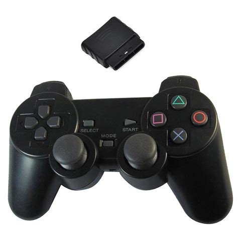 Stick Ps2 Wirelles Hitam Original new black wireless shock controller for sony ps2 free
