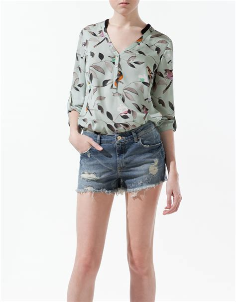 Blouse Bird Blouse Zara Zara Bird Print Blouse Blouse With