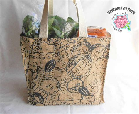 pattern for a tote bag with lining reusable grocery bag sewing pattern reusable shopping bag