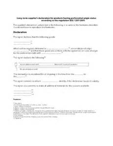 long term supplier declaration fill online printable