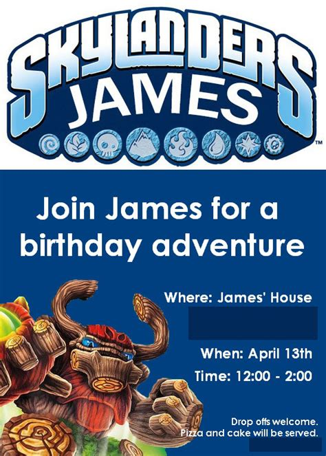 skylander birthday card template skylanders birthday