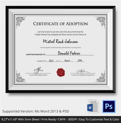 blank adoption certificate template adoption certificate template 12 free pdf psd format