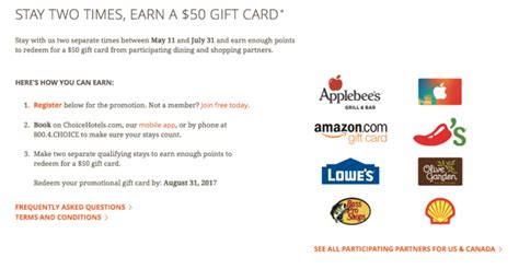 Hotel Stay Gift Card - choice hotels gift card lamoureph blog