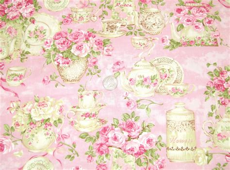 shabby cottage chic fabric by the yard pink rose garden