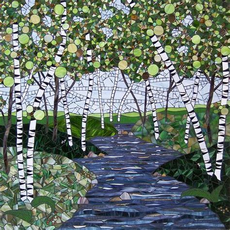 spring birches on the river mosaic pinterest