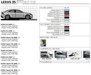 paint codes and media archive for lexus is lexus is forum