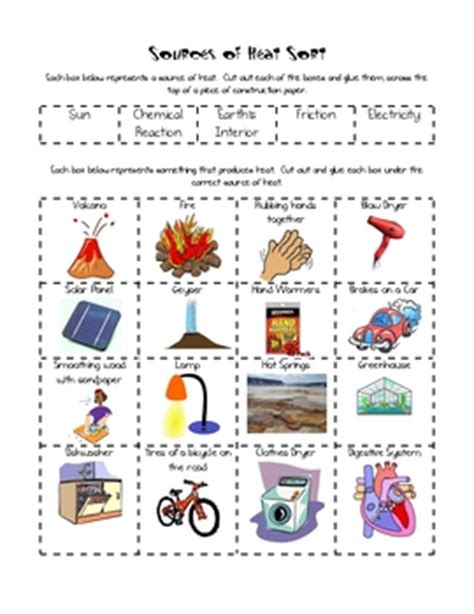 sources of heat sort | school, teaching science and third