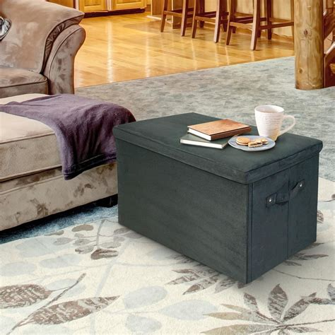 microsuede storage bench casual home black microsuede folding storage bench 112 72 the home depot