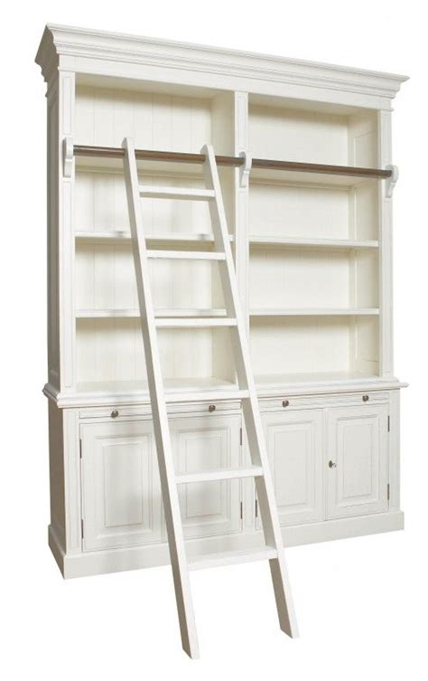 French Bookcase With Ladder Antique White Or Black Bookcase With Ladder