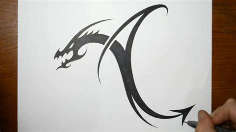 tattoo dragon letters designing a tribal dragon letter a youtube