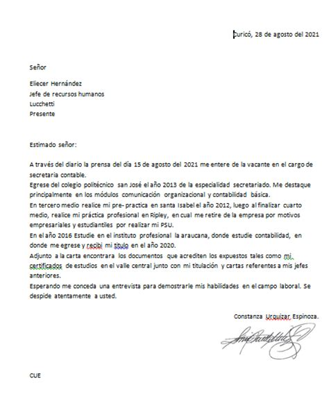 carta de presentacion laboral primer empleo redaccion y aplicaci 243 n inform 225 tica agosto 2012