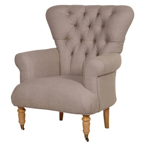 Cruella Beige Linen Buttoned Armchair