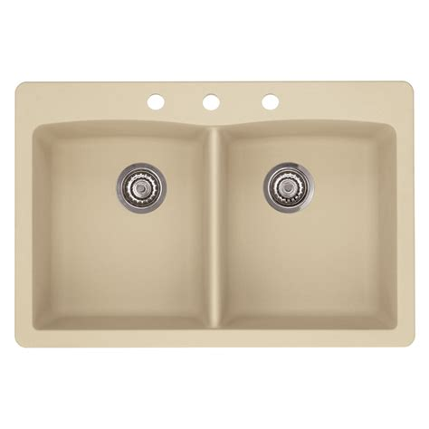 Shop Blanco Diamond 22 In X 33 In Biscotti Double Basin Blanco Granite Kitchen Sinks