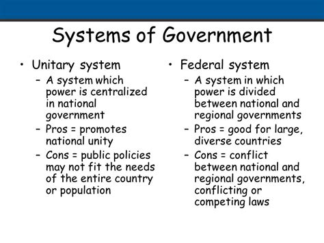 In A Unitary System Of Government Local Offices by Comparing Forms Of Government Ppt