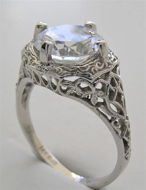 deco antique style filigree large ring setting