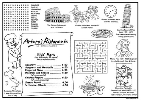 menu template pages restaurant coloring pages
