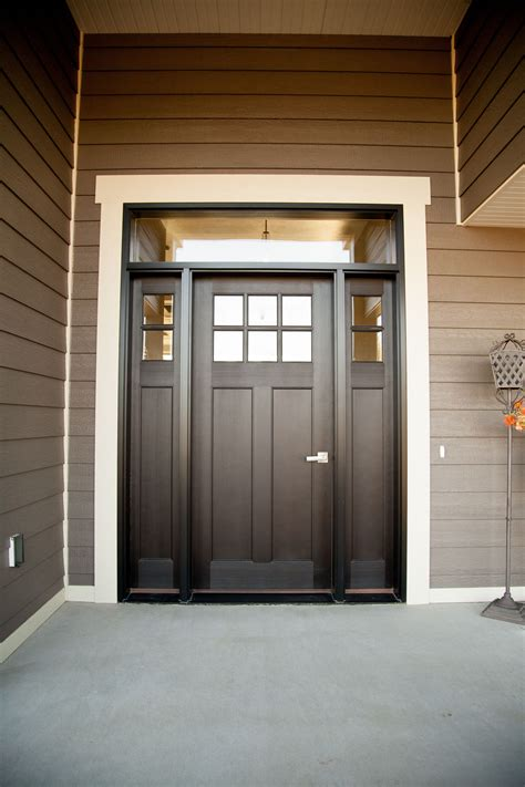 Exterior Doors With Sidelites Exterior Doors Six Lite Craftsman Style Fiberglass Door Stained With Transom And