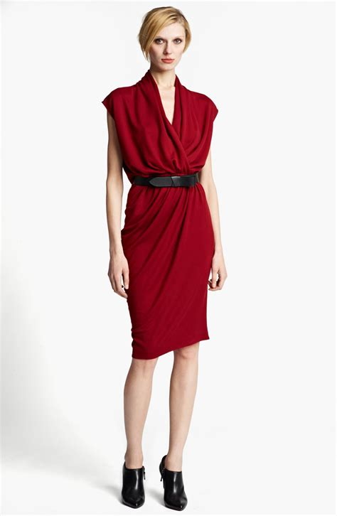 Lanvin Draped Jersey Dress In Red Lyst