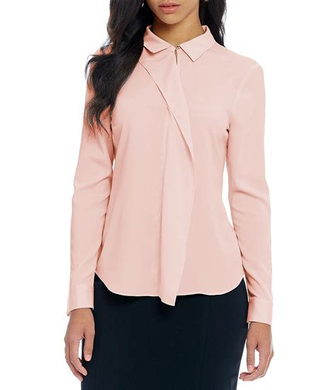 Ruffle Collar Blouse Sleeve by Ivanka Convertible Collar Ruffle Front Sleeve