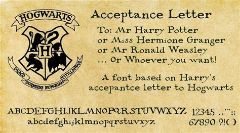 Harry Potter Letter Of Acceptance Generator Harry Potter Acceptance Letter Font By Decat On Deviantart For The Of Paper