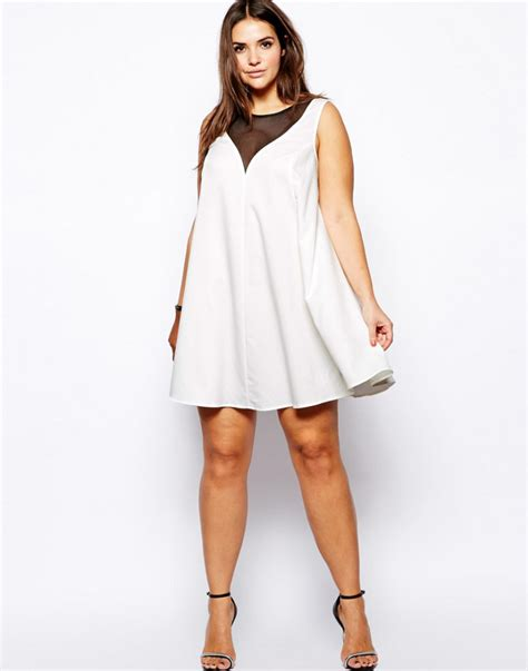 plus size white swing dress gotta have it asos curve white swing dress with mesh
