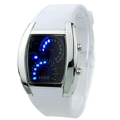 Led Sport Watches Aa W027 White sale rpm turbo blue flash led mens sports car meter
