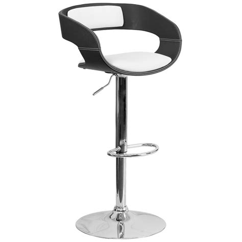 Black And White Bar Stool Flash Furniture Bentwood Adjustable Height Black And White Cushioned Bar Stool Sd2207 The Home