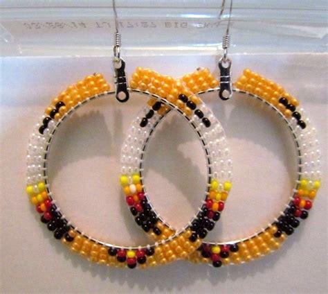 beautiful american beaded hoop earrings 2 inches