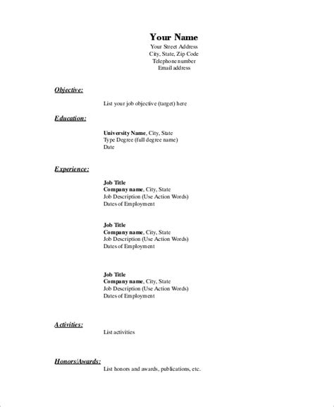 Conventional Resume Definition Basic Resume Exle 8 Sles In Word Pdf