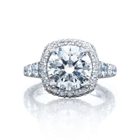 tacori engagement rings royalt cushion halo setting