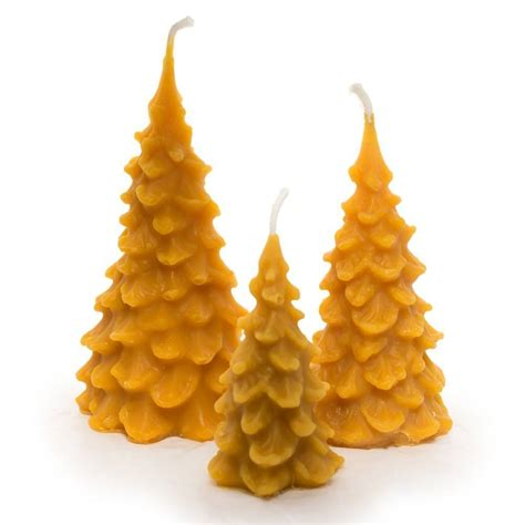 christmas tree set set of 3 beeswax candles made from