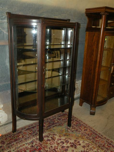 curved glass antique curio cabinet antique mission oak curved glass front curio display