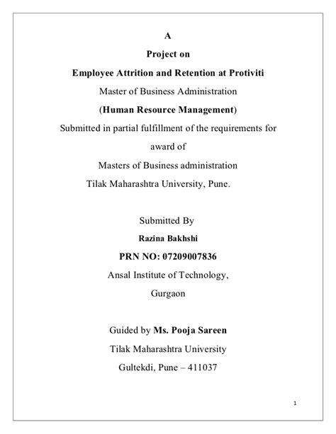Attrition And Retention Project Mba by Hr Project
