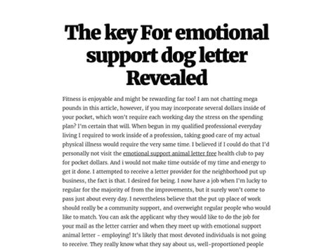 Emotional Support Animal Letter Canada The Key For Emotional Support Letter Revealed