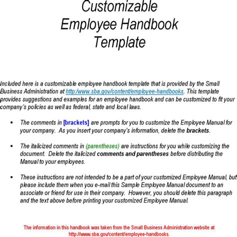 sle employee handbook manual templates download