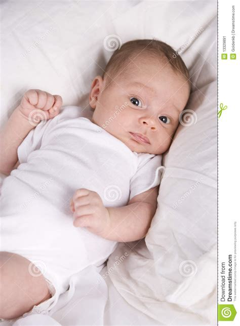 Pillow For 5 Month Baby by One Month Newborn Baby Boy Lying On Pillow Stock Image