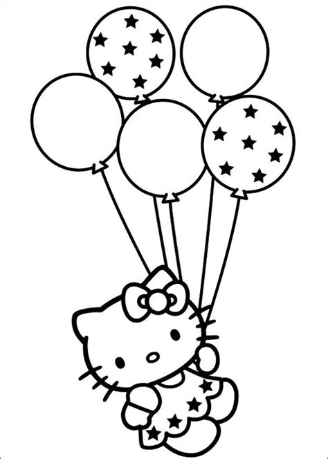 Hello Kitty Balloons Coloring Pages | kitty with balloons coloring pages hello kitty