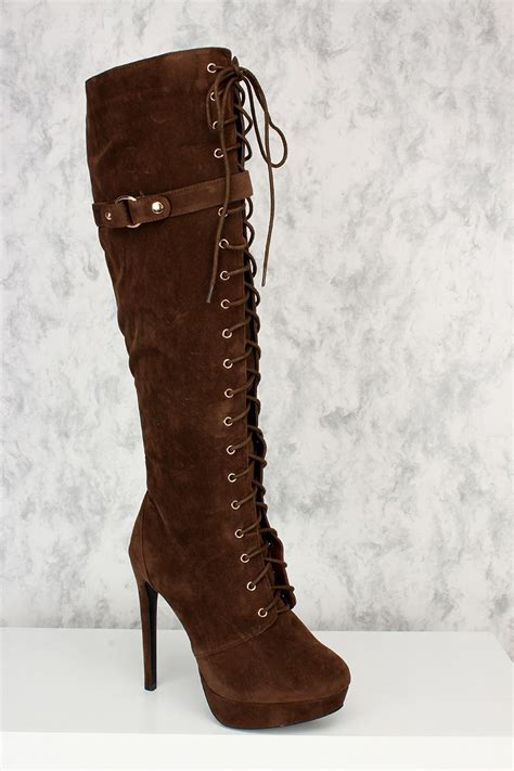 brown front lace up platform knee high heel boots