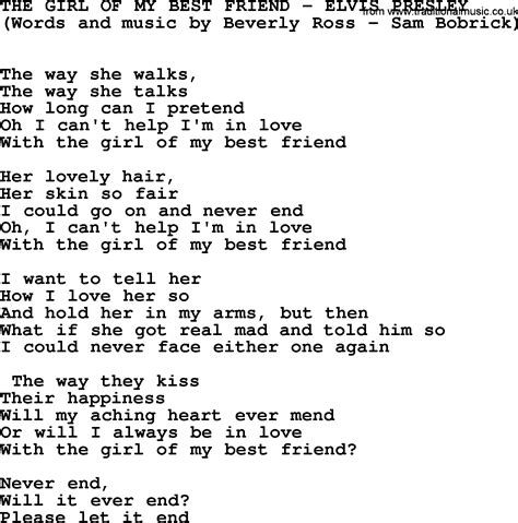 song for a friend elvis of my best friend